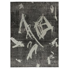 Rug & Kilim's Distressed Style Modern Rug in Black, Gray Geometric Pattern