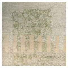 Rug & Kilim's Distressed Style Modern Rug in Green, Beige Abstract Pattern