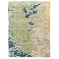 Rug & Kilim's Distressed Style Modern Rug in Green, Beige-Brown Abstract Pattern