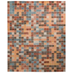Rug & Kilim's Distressed Style Modern Rug in Pink and Blue Multi-Color Pattern