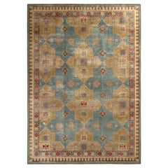 Rug & Kilim's Distressed Style Rug in Green and Blue Geometric Pattern