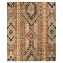 Rug & Kilim's Distressed Style Rug in Red and Blue All Over Geometric Patterns