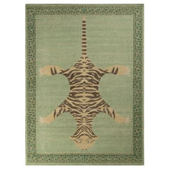 Rug & Kilim's Distressed Style Tiger Rug in Green, Pictorial Pattern