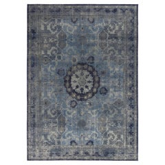 Rug & Kilim's Distressed Transitional Style Rug in Blue, Gray Medallion Pattern