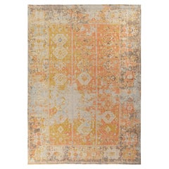 Rug & Kilim's Distressed Tribal Style Custom Rug in Yellow, Red Geometric Patter