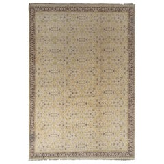 Rug & Kilim's East Turkestan Inspired Beige Brown Herati Wool Floral Rug