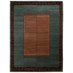 Rug & Kilim's European Style Deco Rug in Blue & Beige-Brown Medallion Pattern