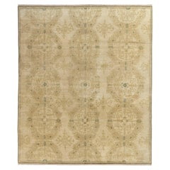 Rug & Kilim's European Style rug, all over Beige-Brown, Green Medallion Pattern