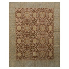 Rug & Kilim's European Style Rug in Beige-Brown and Blue All Over Pattern