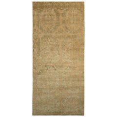 Rug & Kilim's European Style Rug in Beige-Brown and Green Medallion Pattern