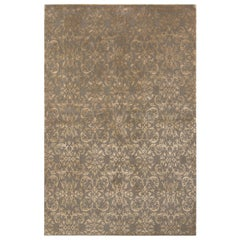 Rug & Kilim's European Style Rug in Beige-Gold and Green Arabesque Pattern