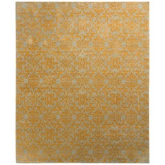 Rug & Kilim's European Style Rug in Gold and Green Arabesque Pattern