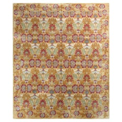 Rug & Kilim's European Style Rug in Gold and Red All over Floral Pattern