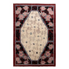 Rug & Kilim's French Deco Style Rug in Red and Beige All Over Pattern