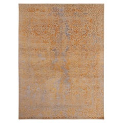 Rug & Kilim's Geometric Floral Beige Gold and Blue Wool and Silk Custom Rug