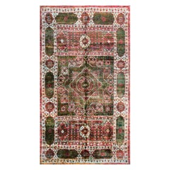 Rug & Kilim's Geometric Green and Red Wool and Silk Rug