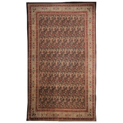 Rug & Kilim's Hand Knotted Antique Sivas Rug in Black and Red in Floral Pattern