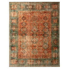 Rug & Kilim's Hand-Knotted Classic Geometric Pattern Rug with Orange Green Color