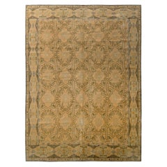 Rug & Kilim's Hand Knotted European Style Rug Beige Green Floral Trellis Pattern