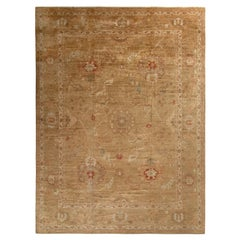 Rug & Kilim's Hand-Knotted Oushak Style Rug in Beige-Brown Floral Pattern