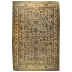 Rug & Kilim's Hand Knotted Transitional Rug in Beige Brown Green Floral Pattern