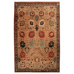 Rug & Kilim's Hand Knotted Transitional Style Rug in Beige Brown Floral Pattern