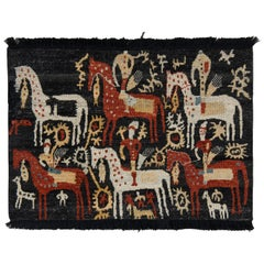 Rug & Kilim's Hand Knotted Tribal Rug in Black and Red Geometric Pattern
