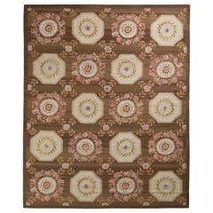 Rug & Kilim's Handmade Aubusson Style Flat-Weave Rug in Brown and Pink