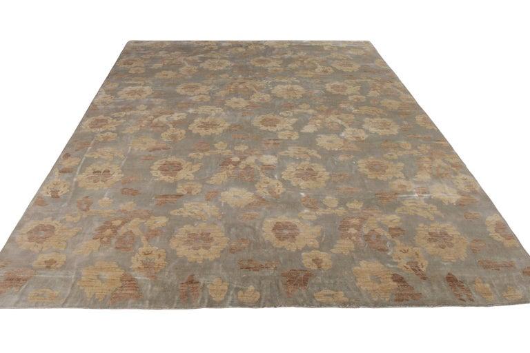 Modern Rug & Kilim's Handmade Contemporary Rug in Beige Brown Floral Pattern For Sale