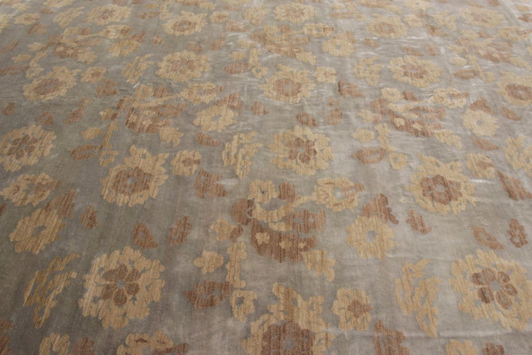 Nepalese Rug & Kilim's Handmade Contemporary Rug in Beige Brown Floral Pattern For Sale