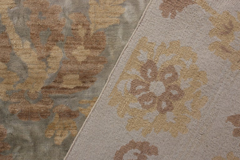 Hand-Knotted Rug & Kilim's Handmade Contemporary Rug in Beige Brown Floral Pattern For Sale