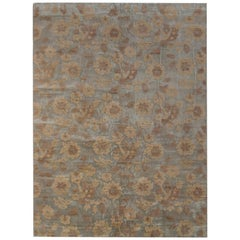 Rug & Kilim's Handmade Contemporary Rug in Beige Brown Floral Pattern