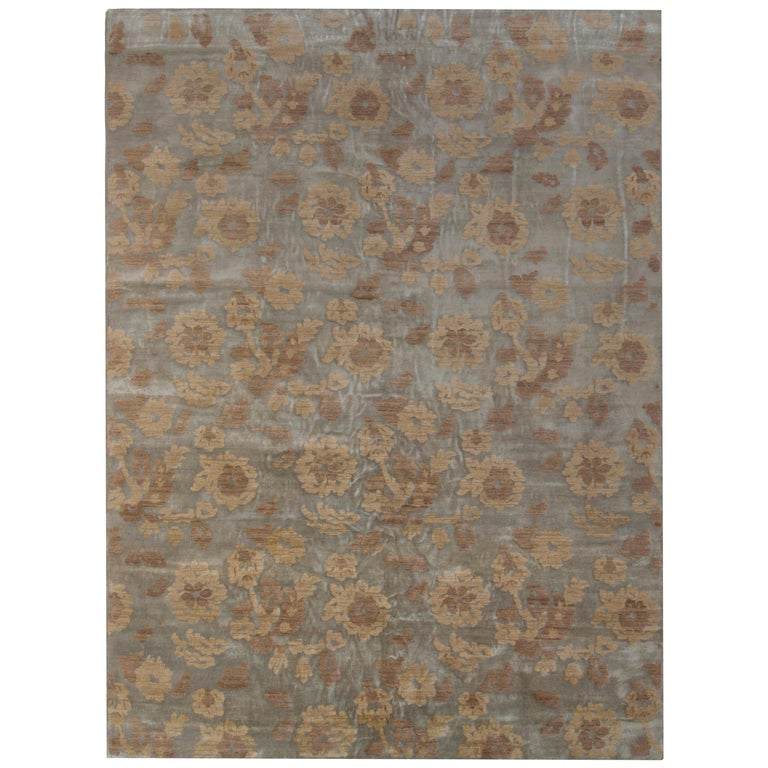 Rug & Kilim's Handmade Contemporary Rug in Beige Brown Floral Pattern For Sale