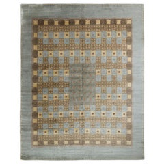 Rug & Kilim's Handmade European Style Deco Rug in Blue and Beige Brown