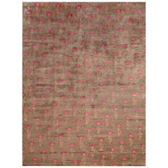 Rug & Kilim's Handmade Transitional Rug in Brown and Pink Floral Pattern
