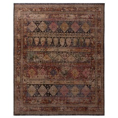 Rug & Kilim's Homage Geometric Beige-Brown and Blue Wool Custom Rug