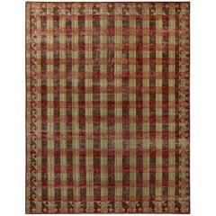 Rug & Kilim's Homage Geometric Beige Brown and Red Wool Custom Rug