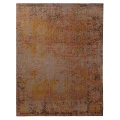 Rug & Kilim's Homage Geometric Beige-Gray Yellow and Pink Wool Custom Rug