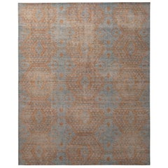 Rug & Kilim's Homage Geometric Brown and Blue Wool Custom Rug
