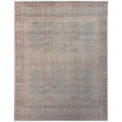 Rug & Kilim's Homage Geometric Ensi Beige Brown and Blue Wool Custom Rug