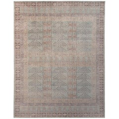 Rug & Kilim's Homage Geometric Ensi Beige Brown and Blue Wool Custom Rug
