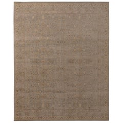 Rug & Kilim's Homage Geometric Floral Beige Brown and Blue Wool Custom Rug