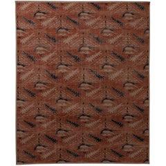 Rug & Kilim's Homage Geometric Floral Beige Pink and Blue Wool Custom Rug