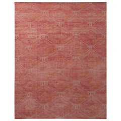 Rug & Kilim's Homage Geometric Red and Orange Wool Custom Rug