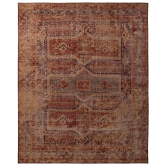 Rug & Kilim's Homage Geometric Red Blue and Beige-Yellow Wool Custom Rug