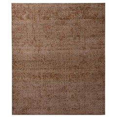 Rug & Kilim's Homage Modern Geometric Beige Brown Wool Custom Rug