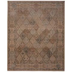 Rug & Kilim's Homage Tabriz Style Geometric Beige Brown and Blue Wool Custom Rug