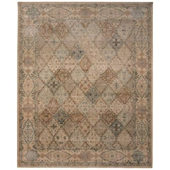 Rug & Kilim's Homage Tabriz Style Geometric Beige Brown and Blue Wool Custom Rug