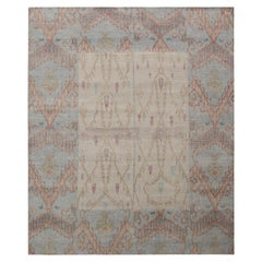 Rug & Kilim's Ikats Style Distressed Rug in Beige and Blue Geometric Pattern