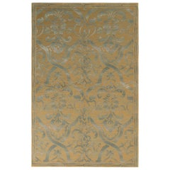 Rug & Kilim's Italian Style Floral Rug in Beige-Brown and Gray Floral Pattern